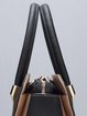 Black-apricot Color-block Cowhide Leather Casual Zipper Top Handle
