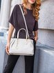 Medium Simple Zipper Cowhide Leather Satchel