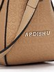 Apricot Embossed Cowhide Leather Push Lock Crossbody