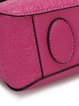 Fuchsia Embossed Cowhide Leather Push Lock Shoulder Bag