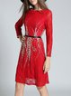 Red Floral Lace Paneled Long Sleeve Bateau/boat Neck Mini Dress