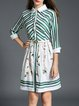 Green Long Sleeve Shirt Collar Printed Midi Dress with Belt