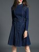 Dark Blue A-line Stand Collar Casual Midi Dress With Belt