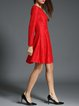 Red Swing Jacquard Crew Neck Long Sleeve Midi Dress With Belt