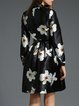 Black Work A-line Stand Collar Floral Printed Midi Dress With Belt