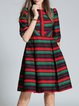 Red Polyester Elegant Stripes Midi Dress
