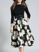 Black Lily Floral Printed 3/4 Sleeve Skater Midi Dress With Belt
