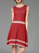 Red Sleeveless A-line Geometric Wool Blend Stretchy Midi Dress