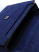 Royal Blue Fold-over Flat Top Cowhide Leather Satchel