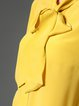 Yellow Silk Bow Simple Stand Collar Blouse