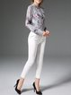 Multicolor Stand Collar Long Sleeve H-line Printed Silk Blouse