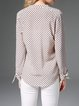Beige Modal Printed Long Sleeve Casual Blouse