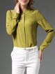Green Plain Long Sleeve Silk Blouse