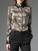 Multicolor Printed Shirt Collar Animal Print Long Sleeve Blouse