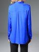 Royal Blue Shirt Collar Simple Plain Blouse