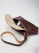 Coffee Fold-over Flat Top Retro Cowhide Leather Crossbody