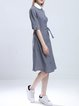 Gray Half Sleeve Plain Paneled H-line Shirt Dress