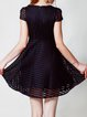 Short Sleeve Casual Pierced Crew Neck A-line Mini Dress