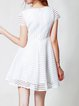 Stripes Pierced Crew Neck Casual Short Sleeve Mini Dress