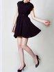 Black Shirt Collar Casual A-line Mini Dress