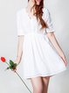 Cotton-blend Half Sleeve Simple Pierced Shirt Dress