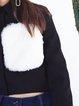 Black Simple Polyester Appliqued Cropped Jacket