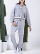 Gray Long Sleeve Lace-up Two Piece Jumpsuit