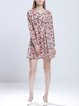 Multicolor Crew Neck Floral Printed Girly H-line Shirt Dress