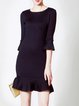 Black Frill Sleeve Flounce Ruffled Plain Mini Dress