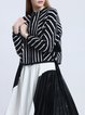 Black Stripes Crew Neck Printed Casual Cropped Jacket