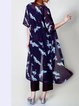 Dark Blue Animal Print Short Sleeve Coat