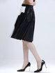 Black Color-block Pleated PU Casual Midi Skirt