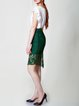 Dark Green Pierced Vintage Asymmetrical Floral Midi Skirt