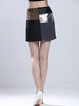 Black Color-block Casual H-line Mini Skirt