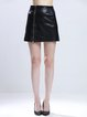 Black PU Zipper A-line Casual Mini Skirt