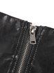 Black PU Zipper A-line Casual Mini Skirt