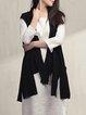 Black Plain Short Sleeve Asymmetric Plain Coat
