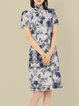 Blue Floral Print Polyester Short Sleeve Elegant Vintage Midi Dress