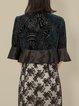 Floral Silk H-line Half Sleeve Vintage Paneled Cropped Jacket