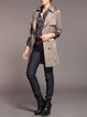 Khaki A-line Half Sleeve Buttoned Zipper Trench Coat With Belt
