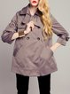 Gray Casual Plain Shirt Collar Pockets Trench Coat
