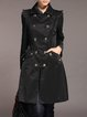 Black Lapel Folds  Buttoned Long Sleeve Trench Coat