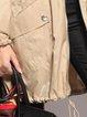 Khaki Buttoned Zipper Shirt Collar Trench Coat