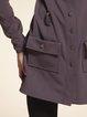 Deep Gray Shirt Collar Buttoned Folds Long Sleeve Coat