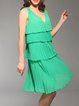 Green Sleeveless Girly Ruffled V Neck Midi Dress