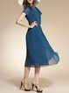 Blue Girly Swing Bow Short Sleeve Midi Dress