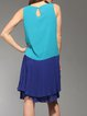 Aqua Blue Plain Pleated Crew Neck Sleeveless Midi Dress