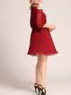 Wine Red A-line Balloon Sleeve Folds Midi Dress