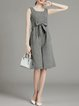 Gray Square Neck Sleeveless Stripes Bow Cotton Linen Jumpsuit