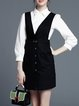Casual Buttoned Shirt Collar 3/4 Sleeve Cotton-blend Two Piece Mini Dress